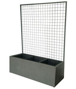 Dehner Leichtbeton-Pflanzkasten mit Spalier, ca. 101/H141/T36 cm, grau