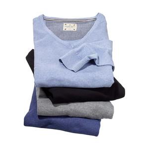 Herren-Pullover 100 % Baumwolle, Rundhals- oder V-Ausschnitt, versch. Farben und Größen