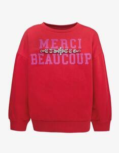 Girls Sweatshirt mit Wording und Zierdetails