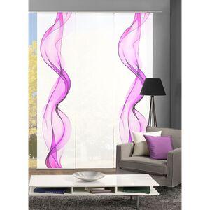 home24 Home Wohnideen Schiebevorhang Alberta III 3er- Set Brombeer Modern 60x245 cm (BxH) Kunstfaser