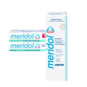 elmex Sensitive, meridol Mundspülungoder meridol, elmex sensitiv Zahncreme Doppelpack