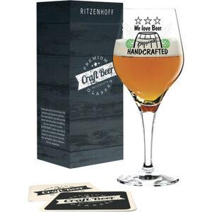 """Ritzenhoff Bierglas """"Craft Beer Design: Handcrafted, H. Haben"""", inklusive 5 Bierdeckel"""