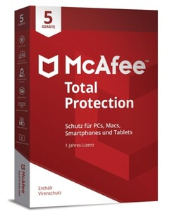 McAfee Software Total Protection ,  2018, 5 Device, (Code in a Box)