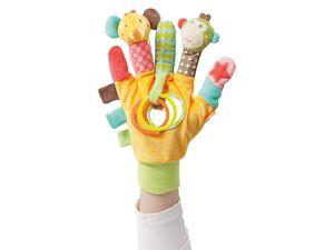 Fehn Spielhandschuh »Safari«, Fingerpuppenhandschuh mit Rassel, Spiegel und Greifringen