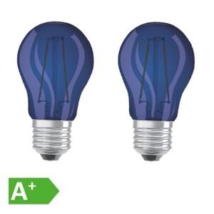 Osram LED Filament Leuchtmittel Tropfen bunt 1,6W = 15W E27 blau 2er Set