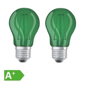 Osram LED Filament Leuchtmittel Tropfen bunt 1,6W = 15W E27 grün 2er Set