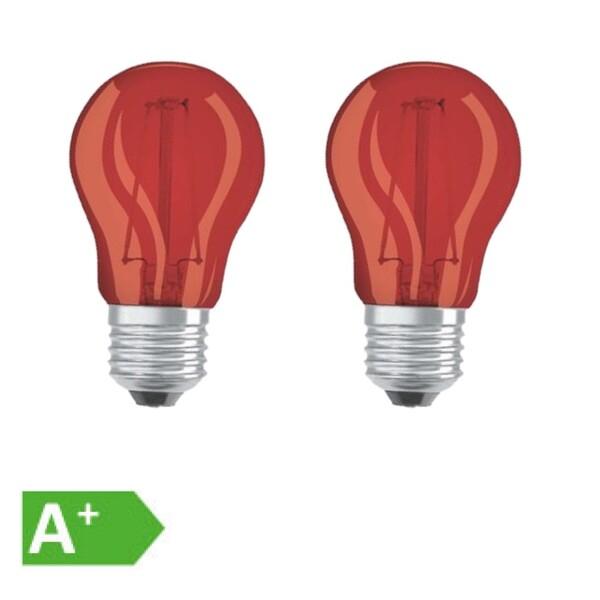 Osram LED Filament Leuchtmittel Tropfen bunt 1,6W = 15W E27 rot 2er Set