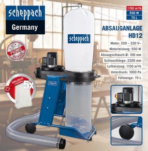 Scheppach Absauganlage HD12 SE + 5 Spänesäcke