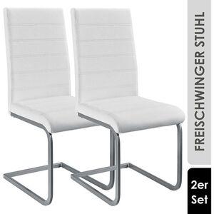 ArtLife Freischwinger Stuhl Vegas 2er Set   Kunstleder Bezug + Metall Gestell   weiß