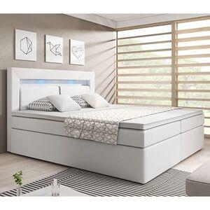 ArtLife Boxspringbett New Jersey 140 x 200 cm weiß   Bettkästen und Federkernmatratze   Kunstleder