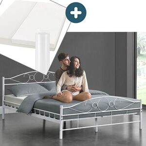 Metallbett Toskana 140 x 200 cm weiß – Komplett Set mit Matratze - Bett mit Lattenrost - modern