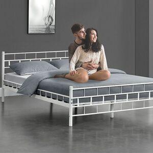 Metallbett Malta 140 x 200 cm weiß – Bettgestell mit Lattenrost – modern & massiv – Bett