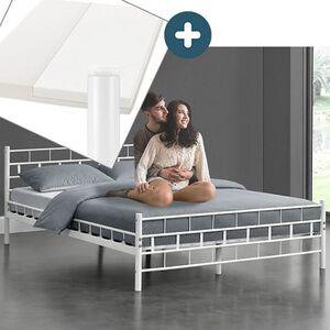 Metallbett Malta 140 x 200 cm weiß – Komplett Set mit Matratze - Bett mit Lattenrost - modern