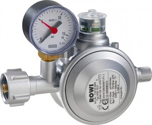 Rowi Gas-Druckregler für Innenräume HGD 1/2 D, mit doppelter Überdrucksicherung