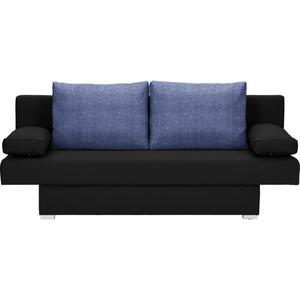 Carryhome Schlafsofa webstoff blau, schwarz , Mia , Textil , 190x74-86x80 cm , Webstoff , Stoffauswahl, Schlafen auf Sitzhöhe , 002300008705