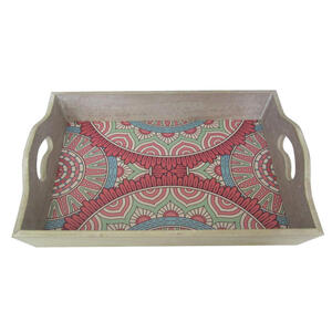 Ambia Home Dekotablett , Mandala , Multicolor , Blume , 27x8x39 cm , lackiert, bedruckt,Nachbildung , 0058510034