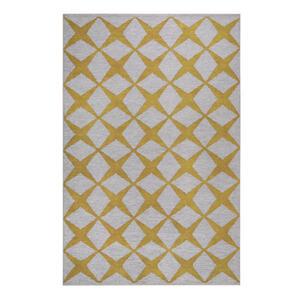 Esprit Flachwebeteppich 60/100 cm gelb, sandfarben , Caledon , Textil , Graphik , 60x100 cm , für Fußbodenheizung geeignet, in verschiedenen Größen erhältlich, für Hausstauballergiker geeignet,