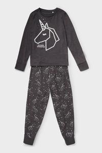 Einhorn - Pyjama - Bio-Baumwolle - 2 teilig - Glanz-Effekt