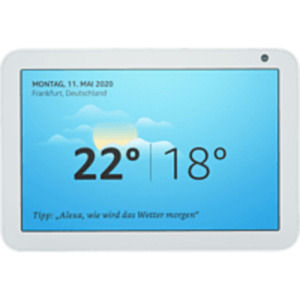 AMAZON Echo Show 8 Smart Display mit 8 Zoll großem HD-Bildschirm Smart Speaker, Sandstein Stoff