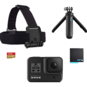 GOPRO HERO8 Black Holiday Bundle Action Cam 4k (60fps), 2.7k 120( fps), 1440p (120), 1080p (240fps) und mehr/Videoschleife/8x Slo-Mo , WLAN, Touchscreen