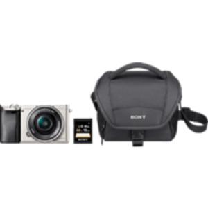 SONY Alpha 6000 KIT (ILCE-6000L) + Tasche + Speicherkarte Systemkamera mit 16-50 mm Objektiv in Silber