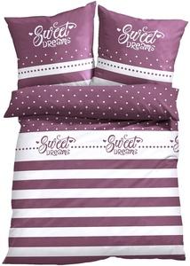 Bettwäsche mit Streifen und Statement