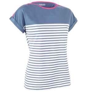 Segelshirt kurzarm Sailing 100 Damen blau/grau