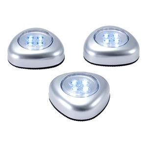 LED-Push-Licht zum Kleben, ca. 7x7x3cm, 3er Set