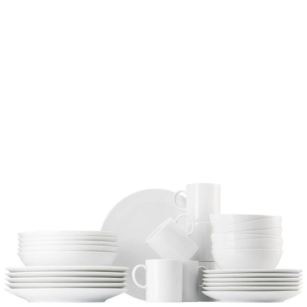 Thomas Porzellan kombiservice 30-teilig , 14464-800001-28493 , Weiß , Keramik , Uni , 300 ml,580 ml , 34.5x32.8x34.6 cm , glänzend , 0035720604