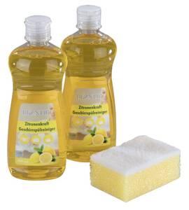 Spülmittel-Set mit Zitronenduft, 2 x 500 ml inklusive Schwamm