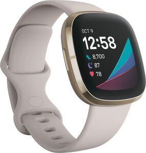 Fitbit Sense, Edelstahl, mondweißes Armband