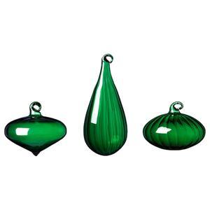 VINTER 2020 Dekokugel 3er-Set, versch. Formen/Glas grün