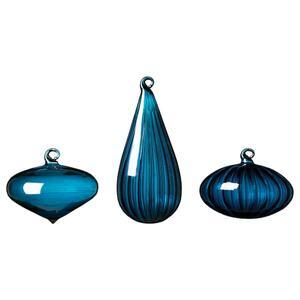 VINTER 2020 Dekokugel 3er-Set, versch. Formen/Glas blau
