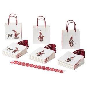 VINTER 2020 Geschenktüte, Weihnachtsmannmuster weiß