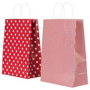 VINTER 2020 Geschenktüte, Sterne/Streifen rot/weiß