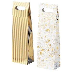 VINTER 2020 Geschenktüte für Flasche, Streifen/Blumenmuster weiß/goldfarben
