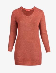 Thea - langer Strick-Pullover mit V-Ausschnitt