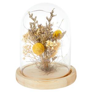 Glasglocke mit Trockenblumen und LEDs