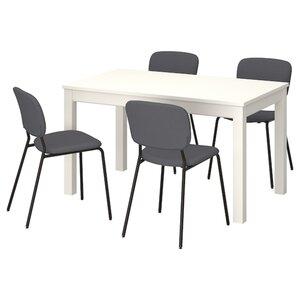 LANEBERG / KARLJAN Tisch und 4 Stühle, weiß/dunkelgrau dunkelgrau