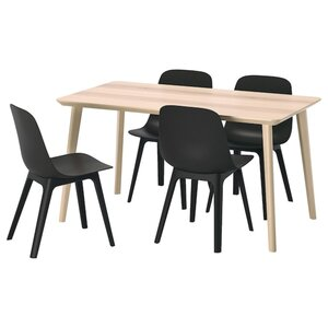 LISABO / ODGER Tisch und 4 Stühle, Eschenfurnier/anthrazit