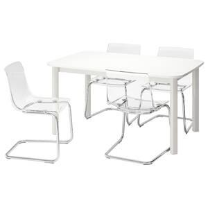 STRANDTORP / TOBIAS Tisch und 4 Stühle, weiß/transparent