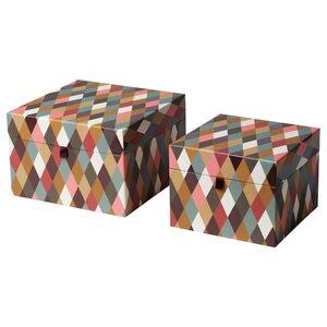 DEKORERA Schachtel mit Deckel 2er-Satz, Diamantmuster bunt