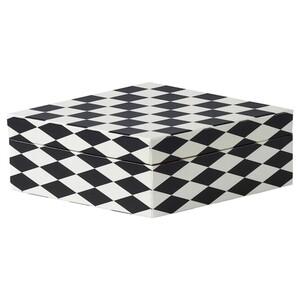 DEKORERA Kasten mit Deckel, Diamantmuster schwarz/weiß
