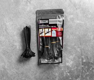 Kraft Werkzeuge Kabelbinder XXL-Pack, wiederverwendbar 180 tlg. - Schwarz