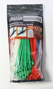Kraft Werkzeuge Kabelbinder XXL-Pack, wiederverwendbar 180 tlg. - Bunt