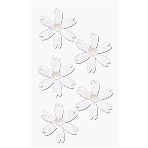 Paper Poetry 3D Sticker Blumen mit Herz weiß