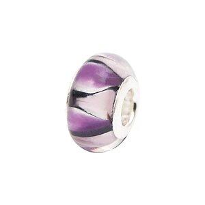 Rico Design Glasperle gestreift rosa-lila versilbert 13x9mm