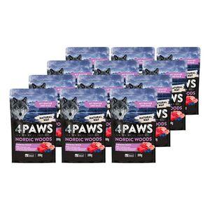 4 PAWS Hundesnack Rentier, Kalb, Huhn 100 g, 12er Pack