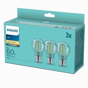 Philips LED Filament Birne 60W A60 E27 3er Pack