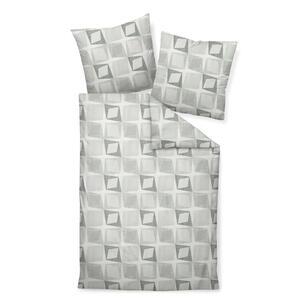 Janine Bettwäsche makosatin grau, grün, weiß 135/200 cm , Moments 98051-06 , Textil , Graphik , 135x200 cm , Makosatin , bügelfrei, pflegeleicht, atmungsaktiv, hautfreundlich, saugfähig, schadst